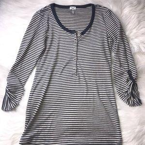 Splendid Henley Stripe Roll Sleeve Top Size XS